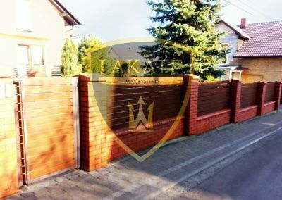 Alu Wood Fence – walnut decor in Klucze, Poland