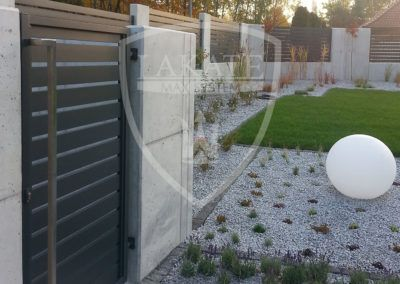 Entrance gate with stainless steel hand rail