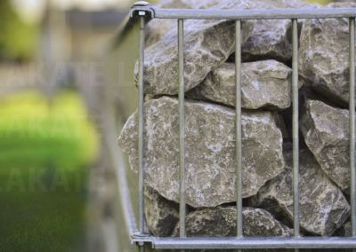 Gabion fence close-up