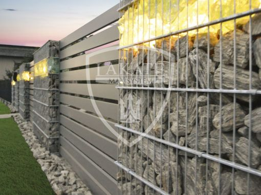 Gabion fencing with glass stone and LED lighting