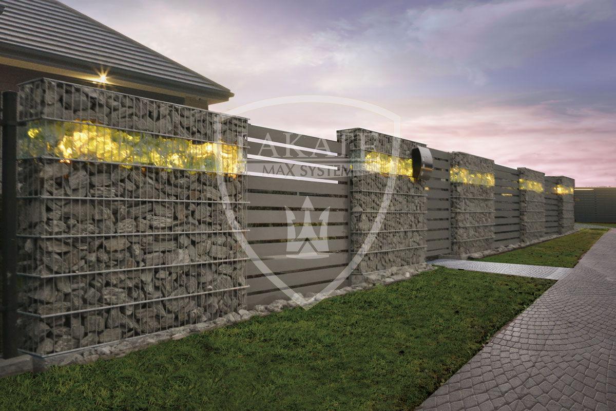 Alu Fence, podświetlone ogrodzenie Gabionowe